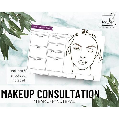 Makeup Consultation Sheets (pad of 30 sheets)