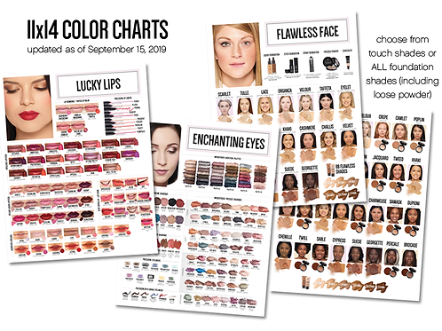 11x14 Younique Color Charts (set of 3) Updated 10/19