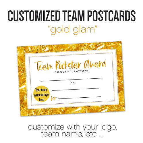 """GOLD GLAM"" Customized Team Postcard"