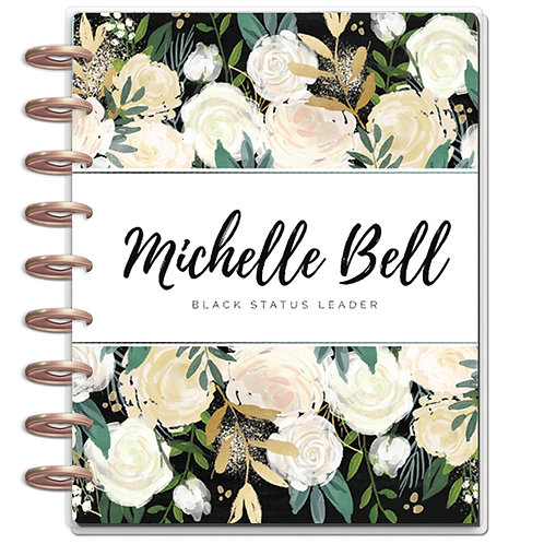 """Planner Cover - for Disc Planners """"Black Floral 1"""""""