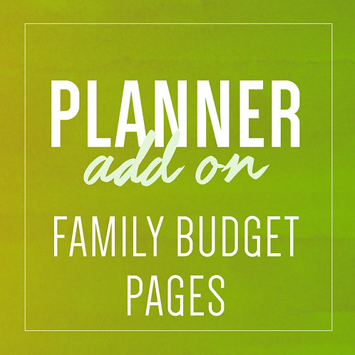 FAMILY BUDGET PAGES - Planner Add Ons