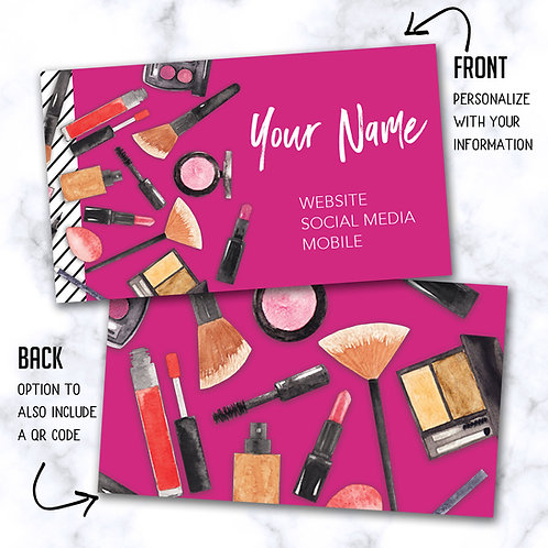 Custom Biz Card - Makeup Bundle Pink