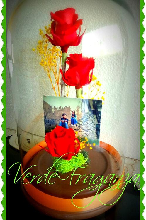 Armonía 3 rosas con fotografía