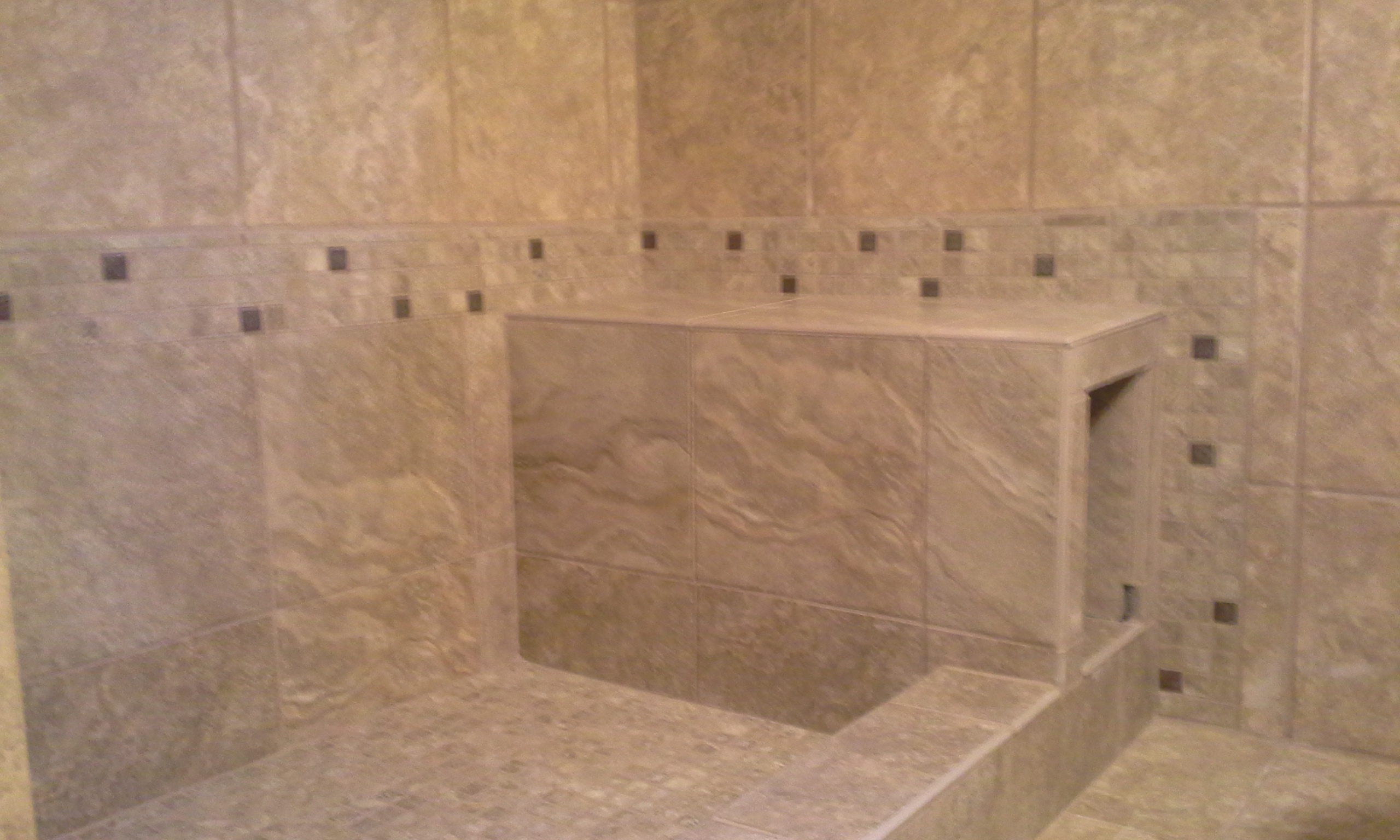tile bench seat & shower