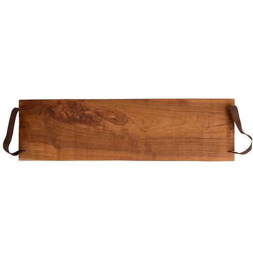 Pure Teak Wood Serveertray met handgreep leer 70cm