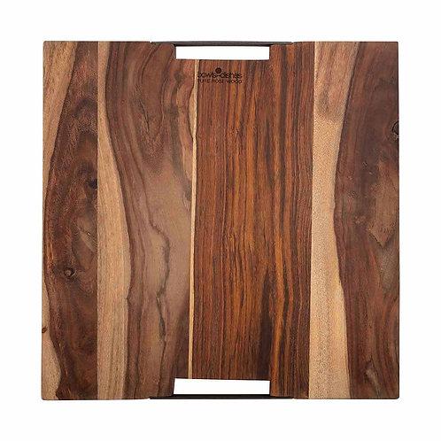 Pure Rose Wood Serveerplank 2 metalen handvatten 40 x 40 cm