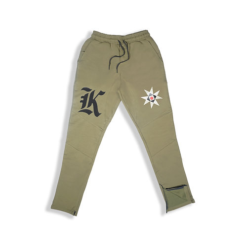 *K & EMBLEM TECH PANTS GREEN*