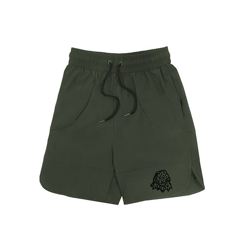 Lion Head shorts Olive Green
