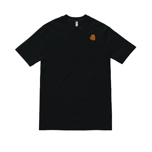 Lion  Head Embroidered Tee black