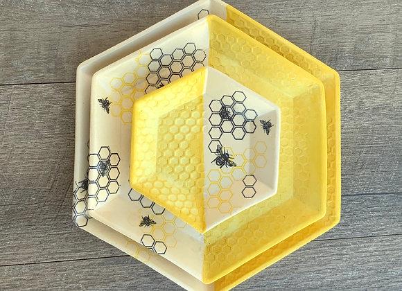 Set of 3 Hexagon plates