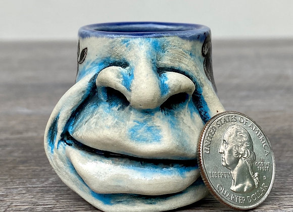 Mini blue flower face mug
