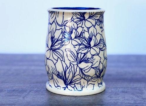 Blue Magnolia Vase
