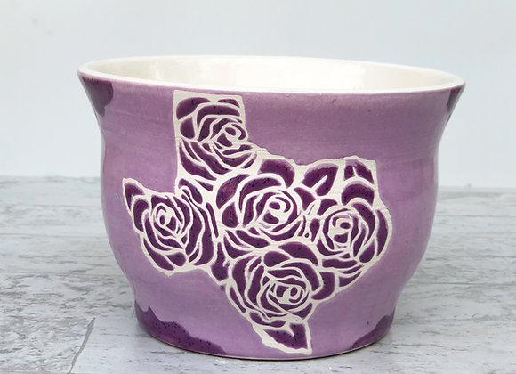 Texas roses purple glossy glaze bowl
