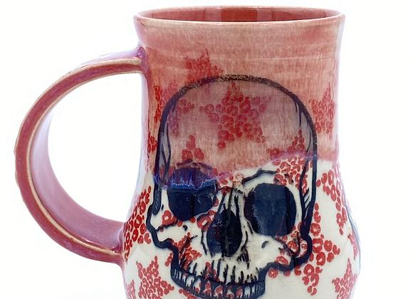 Red cheetah print skull mug 12oz