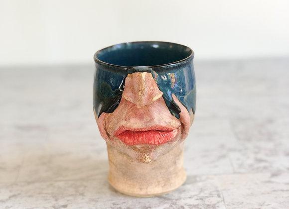 Face Mug Blue Drip