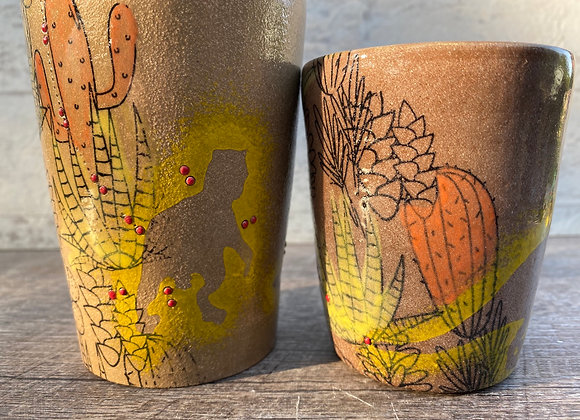 Set of two tumblers Dino's and cacti