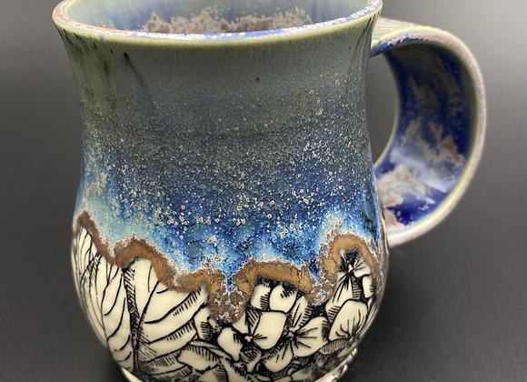 Blue purple glazed flower mug 13oz