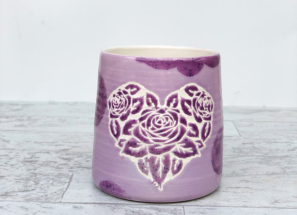 Heart Roses Purple gloss cup
