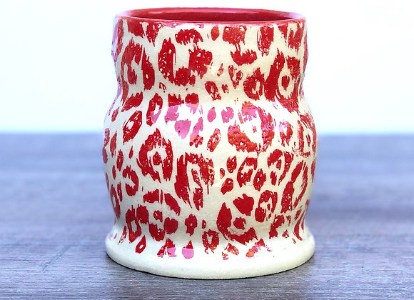 Red cheetah vase