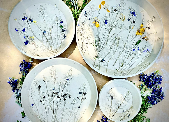 PREORDER Bluebonnet Round Plate set of 3