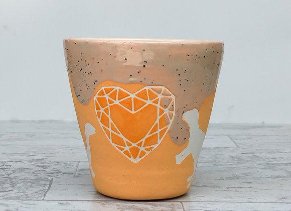 Orange Dino & Heart Gem Vase