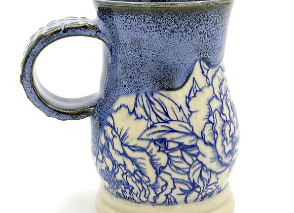 Black and blue peonie mug 12oz