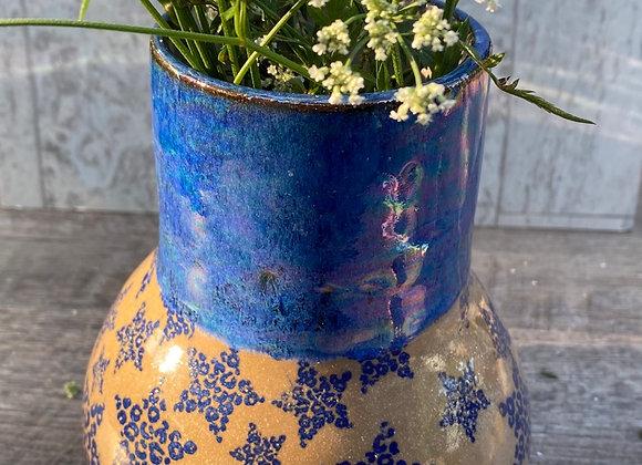 Blue cheetah print vase