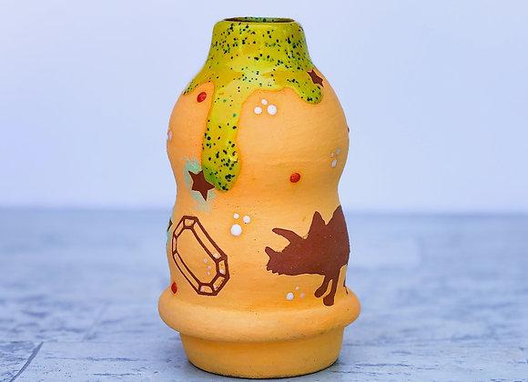 Orange Pour bottle with Dinos