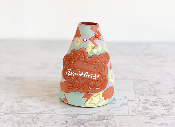 Liquid Gold pour bottle/ Flower Vase