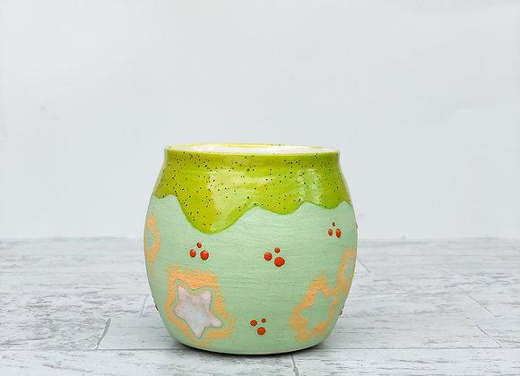 Green graphic Tea light cup