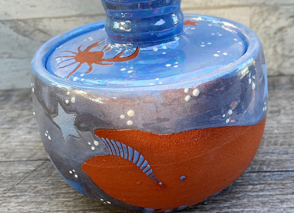 Ocean themed lidded jar iridescent blue glaze