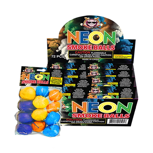Neon Smoke Balls (1 package - 6 pieces)