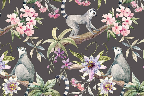 Botanical | lemurs + hibiscus in gray