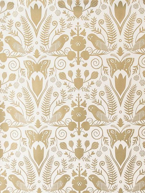 Barn Owls and Hollyhocks | gold on cream