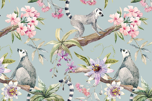 Botanical | lemurs + hibiscus in blue