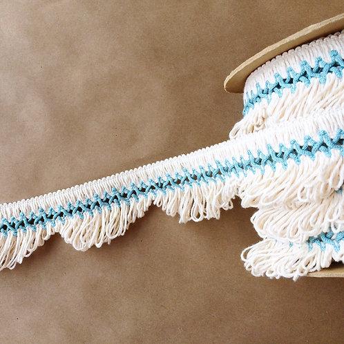 Fringe | 3 in scalloped lace, aquamarine