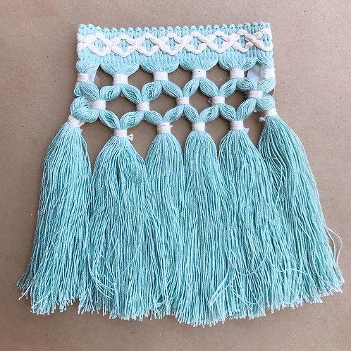 Fringe | 6.5 in diamond triple knot, aquamarine