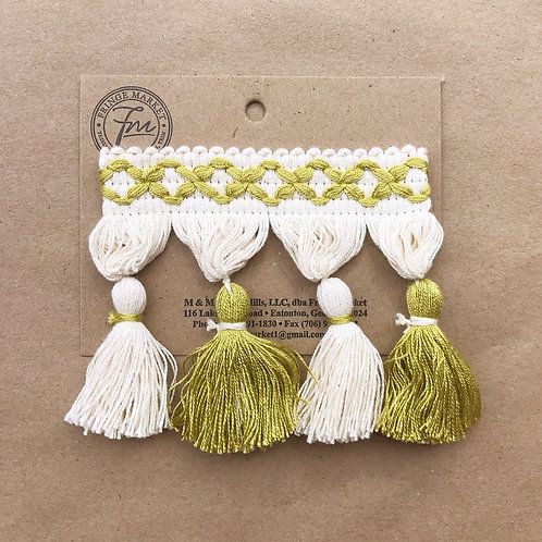 Fringe | 3.5 in frills, chartreuse + white