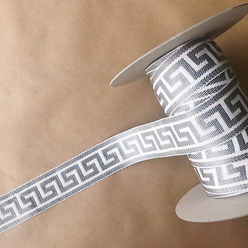 Tape | 2.25 in greek key, gray