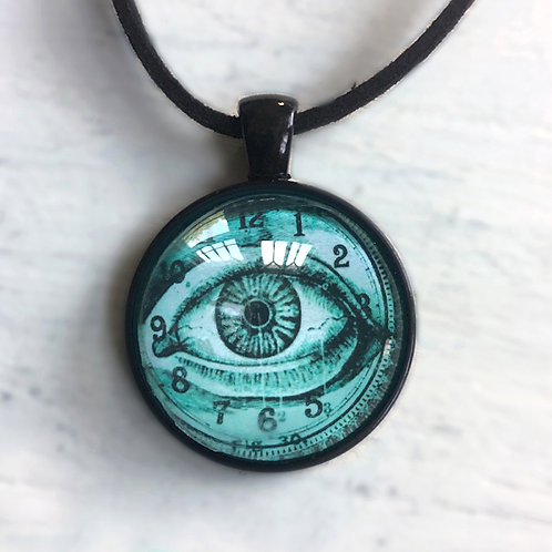Blue-Green Eye and Clock Face Pendant