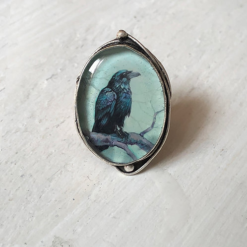 Ring - Wiscasset Raven, Large Oval