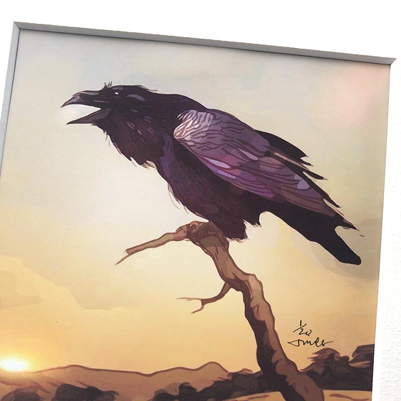 Desert Raven, matted print
