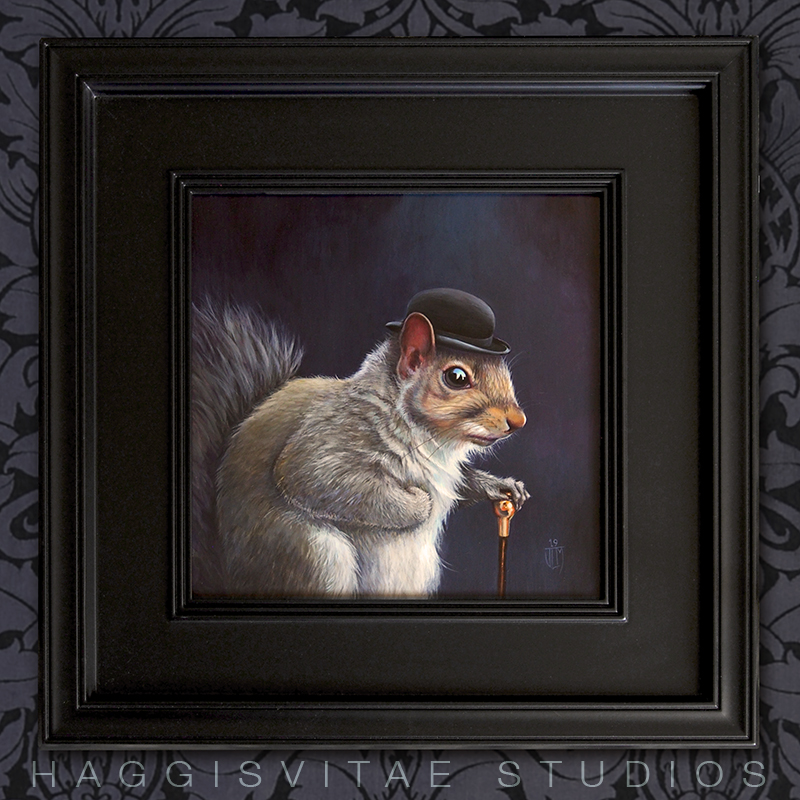 Bowler squirrel painting SMALL HV framed
