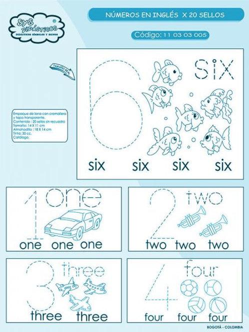20 Timbres de Números en Inglés