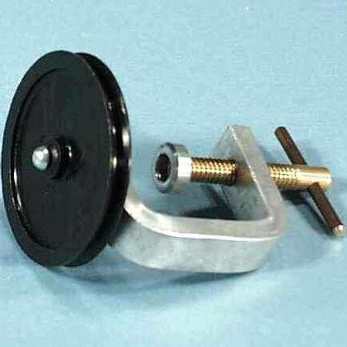 Polea con soporte para mesón horizontal. 50 mm