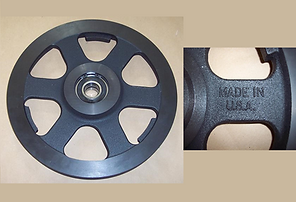 Fits Hydmech S20, S16, H12 and any Saw using the 812887 Idler Wheel. Wheel Comes assembled with Bearings and Snap Ring.