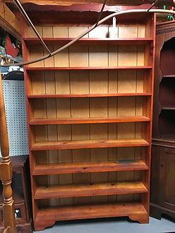 tall pine walnut maple oak shelf with no doors library room