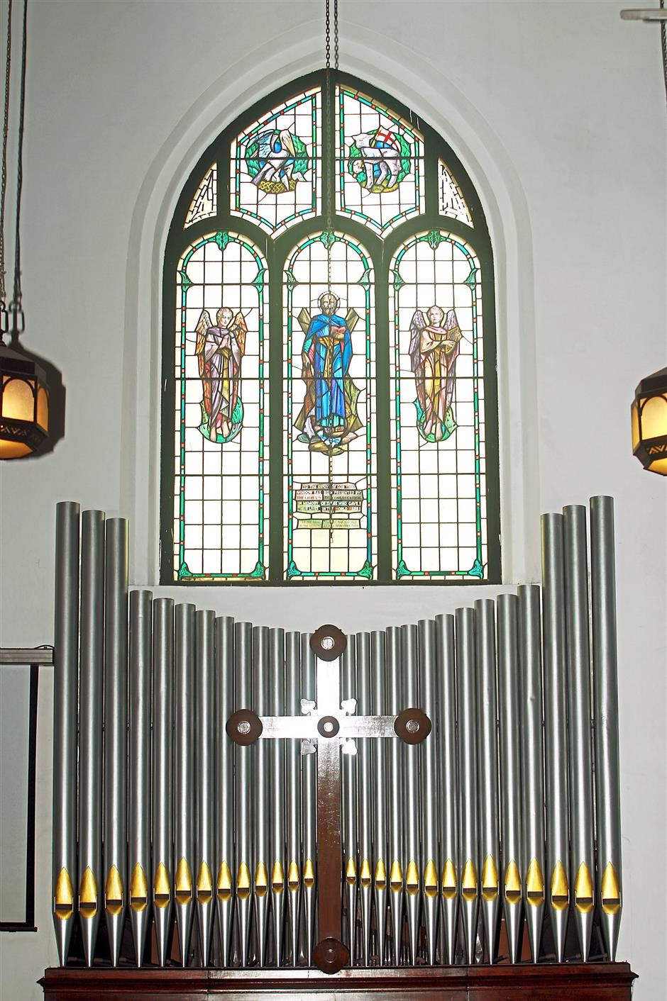 The arched stained glass