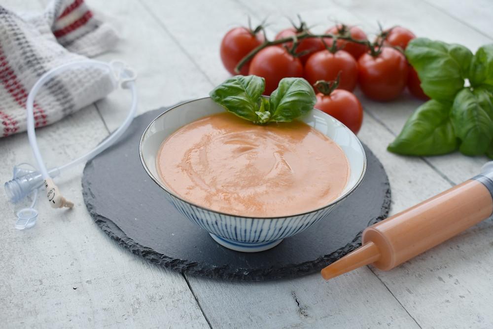pureed tomato soup blenderized tube feeding