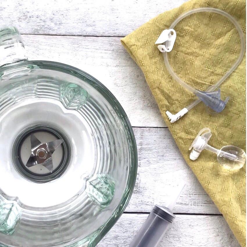 a feeding tube, extension set and blender for blenderized tube feeding